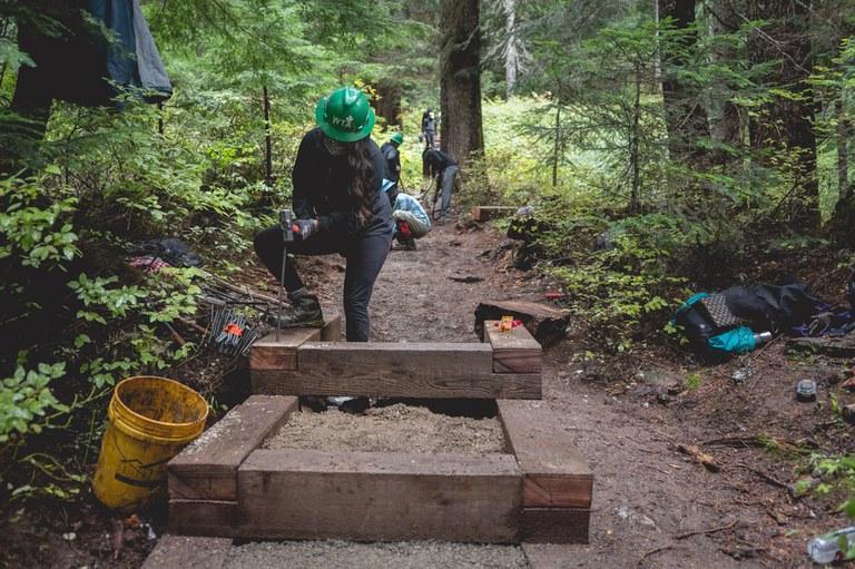 Trail work at Snow Lake