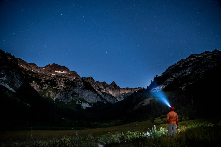 A person stands with a headlamp illuminating a dark meadow.