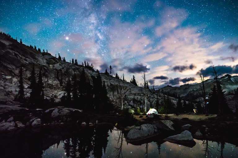Tent with night sky. Photo by Michael Kea.