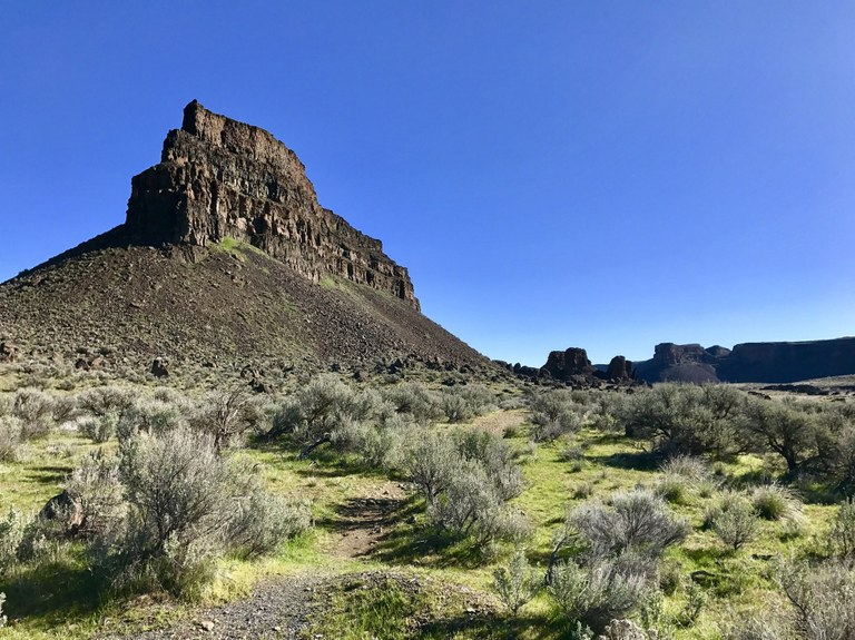 Large rock formation rising behind a trail and sagebrush landscape.