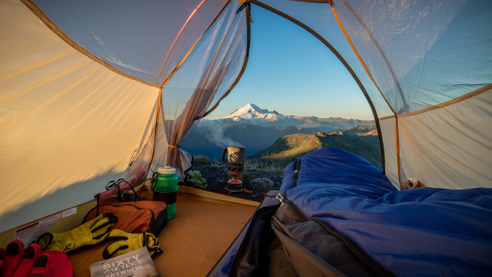 view from tent at Yellow Aster Butte by Derrick Peters