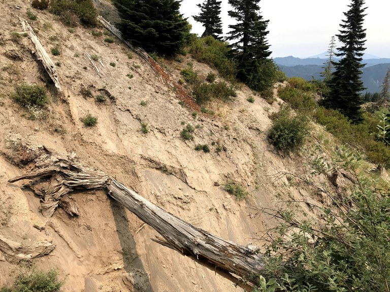 A view of the steep washout at Independence Pass.