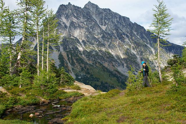 Hiker Crossing Headlight Creek