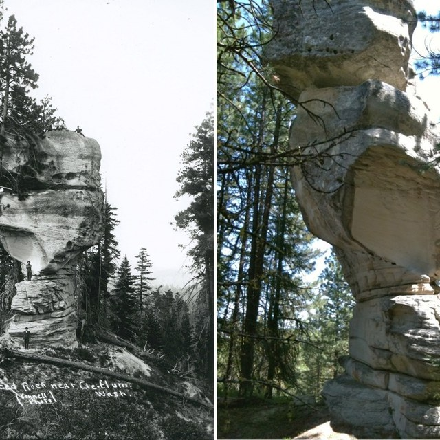 Exclamation Point Rock then and now