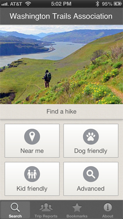 Search for hikes on the Trailblazer app.