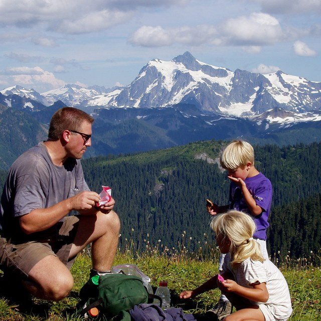 Stopping for a Snack on the Skyline Divide Trail. Photo by Darct Mitchem