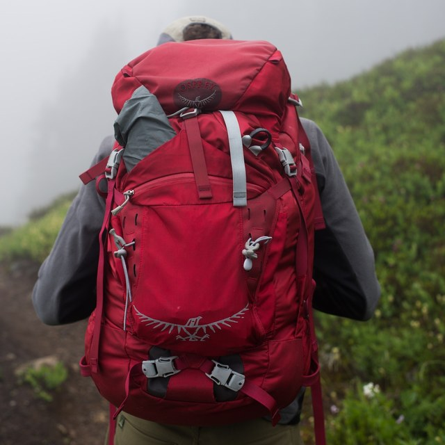 Backpacker at Winchester Mountain