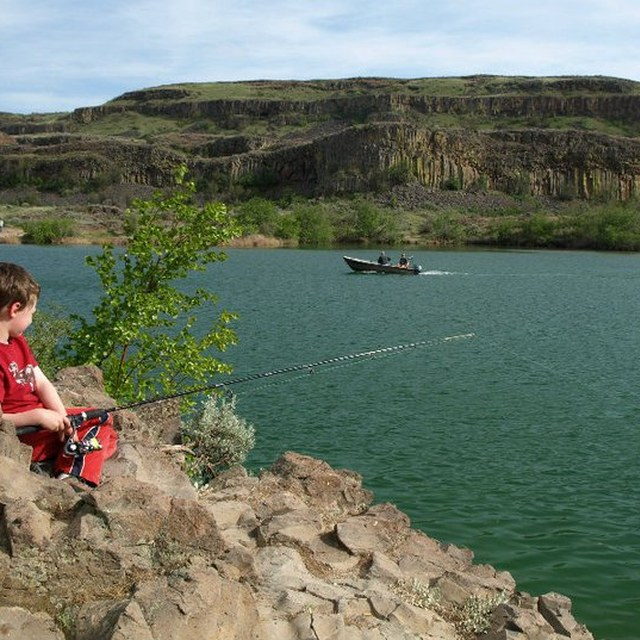 Boy fishing Sun Lakes State Park