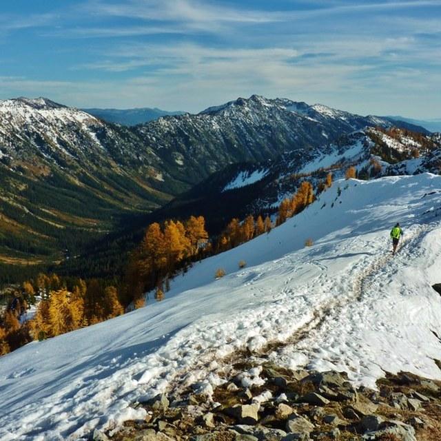 Carne Mountain snowy ridge.