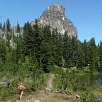 Hiker under Cathedral Rock