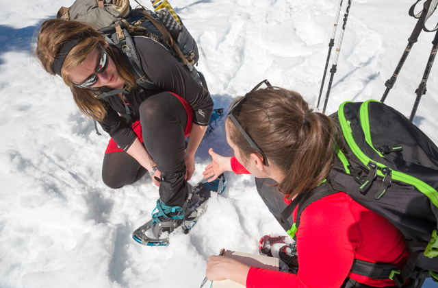 Discussing snowshoes with Stefanie Daniel Silverberg