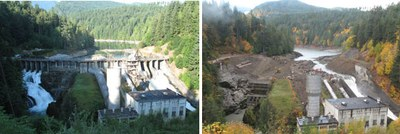 Elwha Dam before after