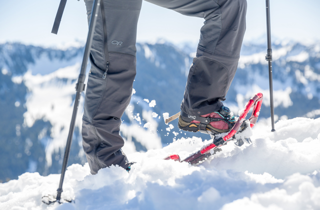 Snowshoes heading uphill Daniel Silverberg