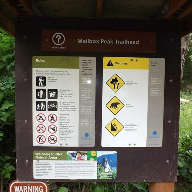 Mailbox Peak trailhead sign