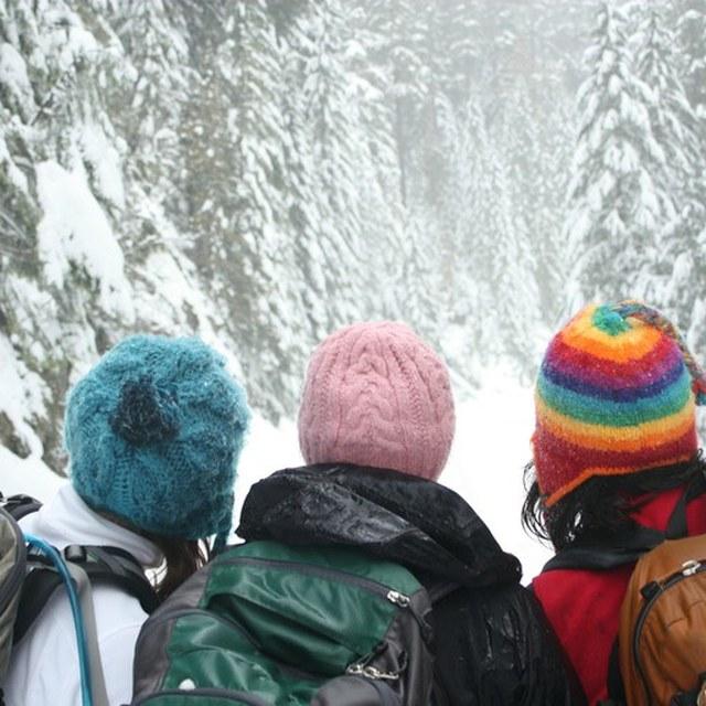Colorful hats Mowich snowshoe