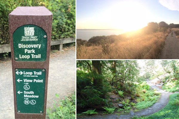 Trails in Discovery Park (left and top-right) by muffinprincess and Washington Park Arboretum by Anna Roth.