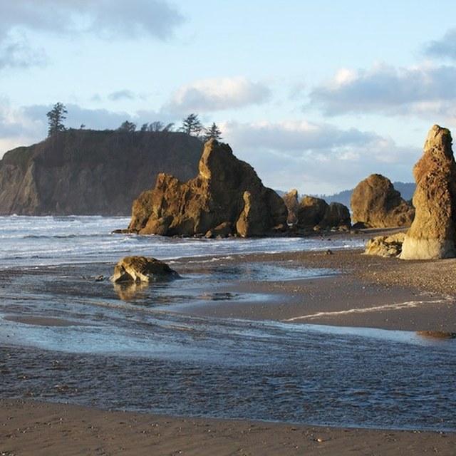 Winter at Ruby Beach sea stacks
