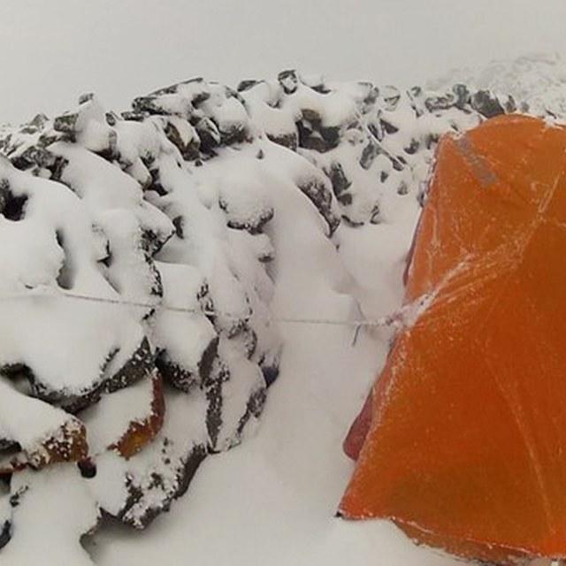 Sahale Arm Glacier Camp in snow