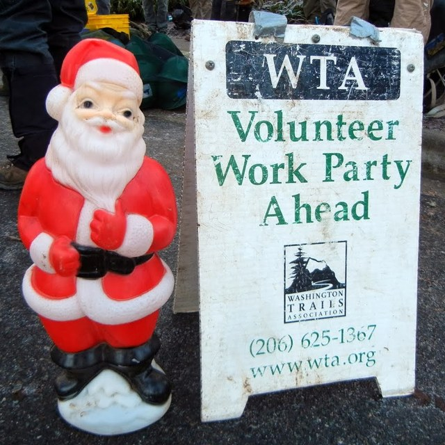 Work Party Ahead and Santa