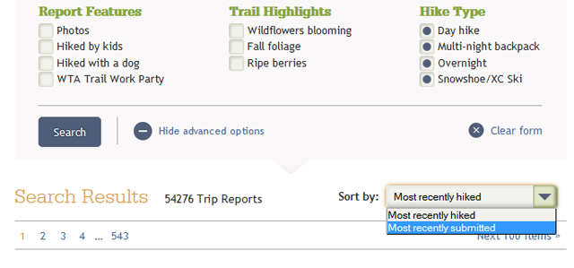 Trip Report Search and Sort