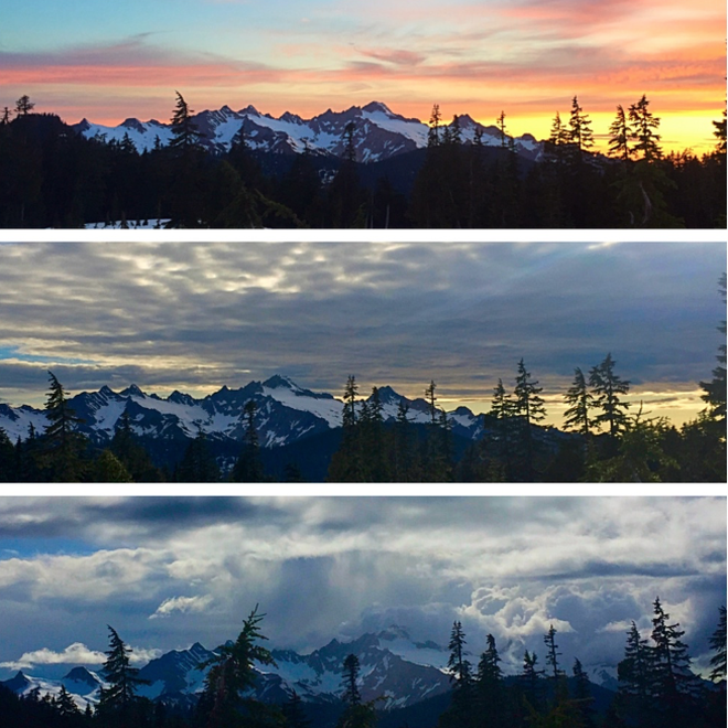 changing skyline over the twin sisters