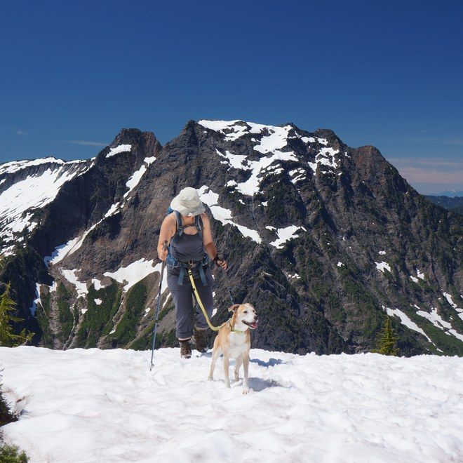 Crossing the second snowfield with Big Four in the background