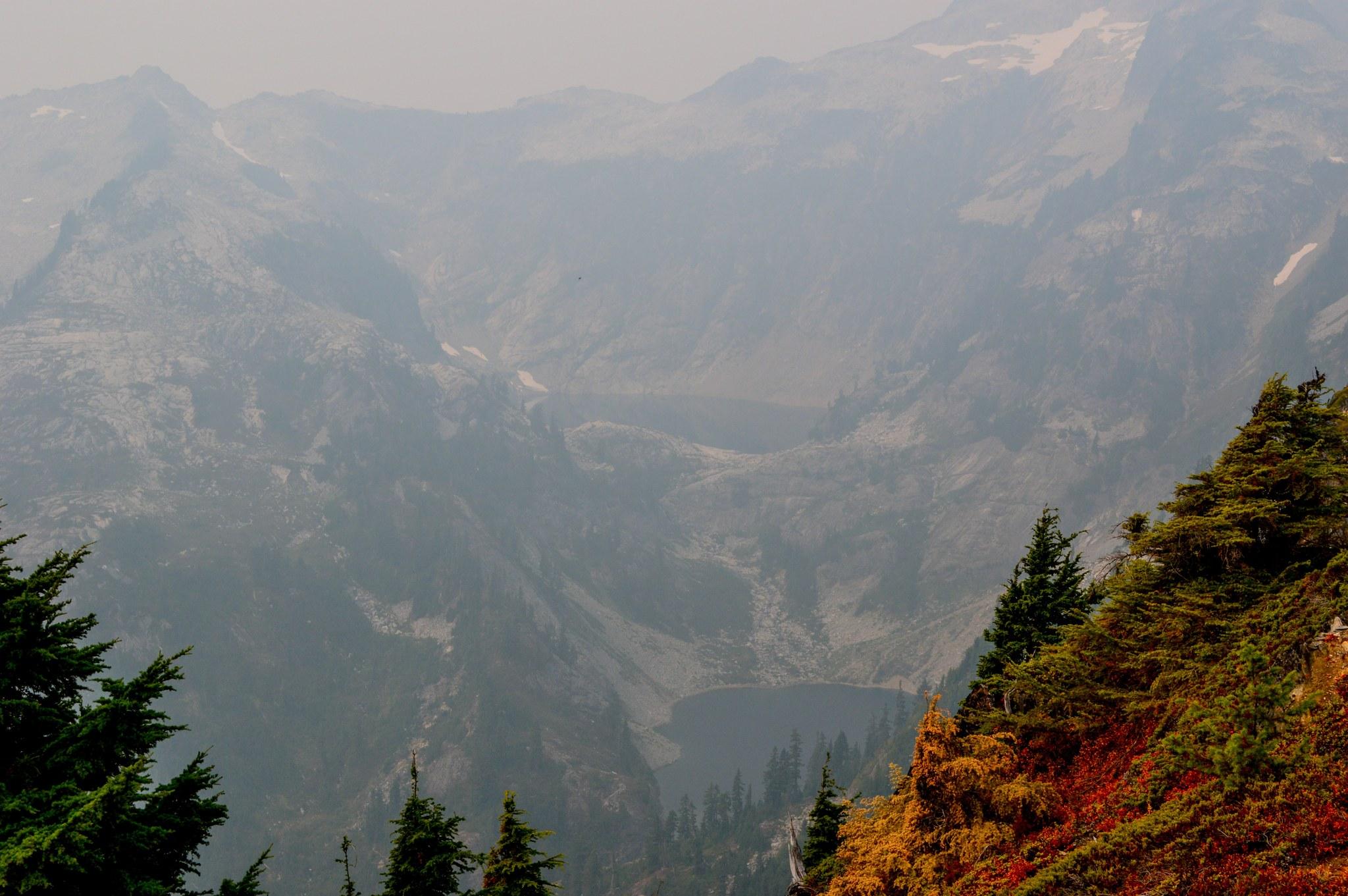Smoke filled view to Thornton lakes